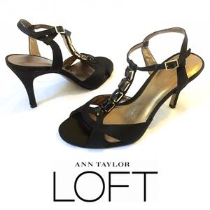 LOFT Black Satin Jeweled T-Strap Heel